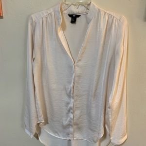 H&M Cream Button-Up Blouse